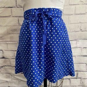 J*Crew- Royal blue and white polkadot mini skirt
